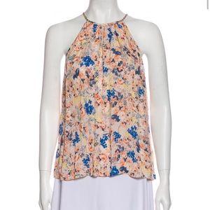Rebecca Taylor pink blue silk floral halter top 8